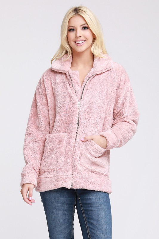 Blushing Over You Sherpa Fur Jacket