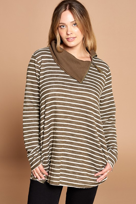 Plus Size Back to Business Striped Top