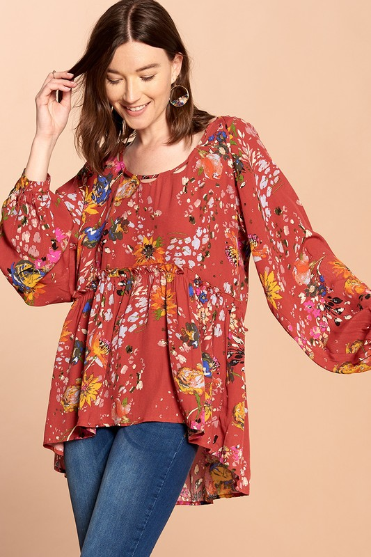 Pretty Woman Floral Babydoll Blouse