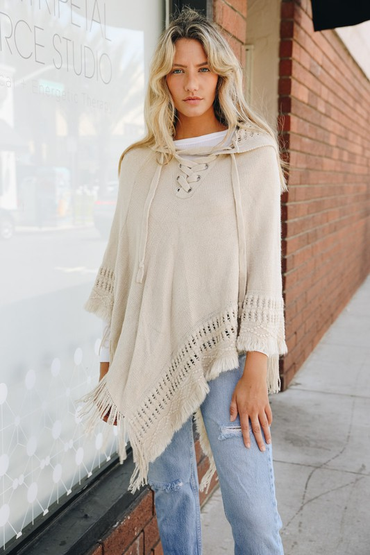 Breckenridge Lace Up Knit Poncho with Hood - Oatmeal