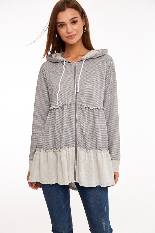 Grey Striped Zip Up Hoodie