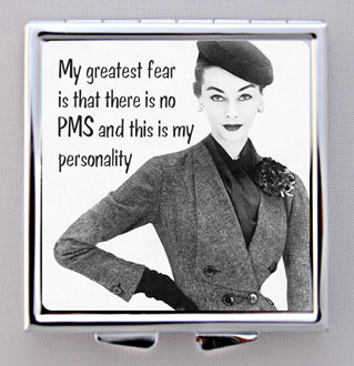 "Pill Box With Compact Mirror ""My Greatest Fear...""-pill box, compact mirror,"
