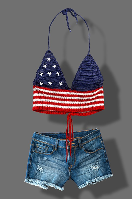 American Flag Halter Top