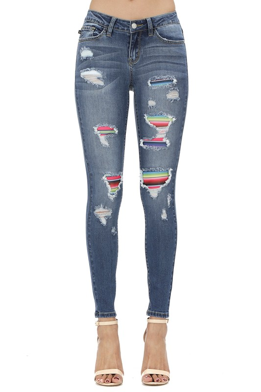 Judy Blue Serape Skinny Distressed Denim Jeans