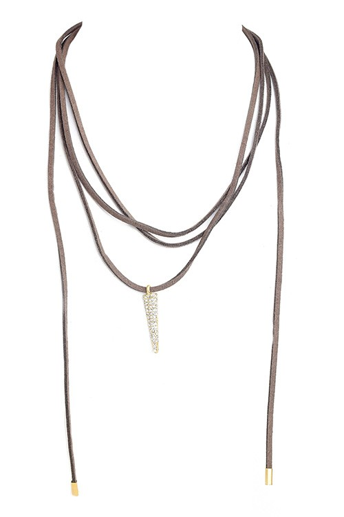 Suede Choker Bolo Necklace With Charm - Brown