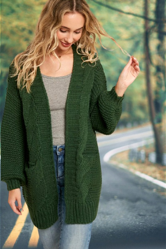 Cozy Emerald Green Knit Cardigan