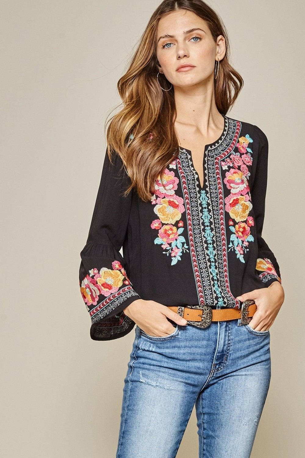 Savanna Jane Black Beauty Floral Embroidered Tunic Top