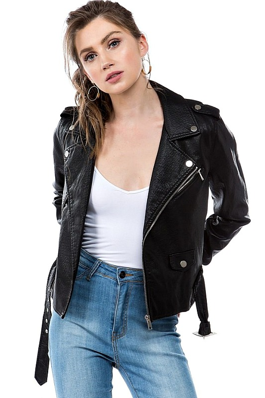 Ashley Belted Moto Jacket
