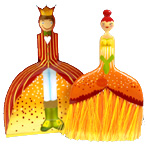 Royal Couple Dustpan Set - Orange & Red-royal couple dustpan set