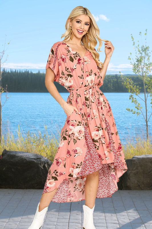 Flirty in Pink High Low Floral Maxi Dress