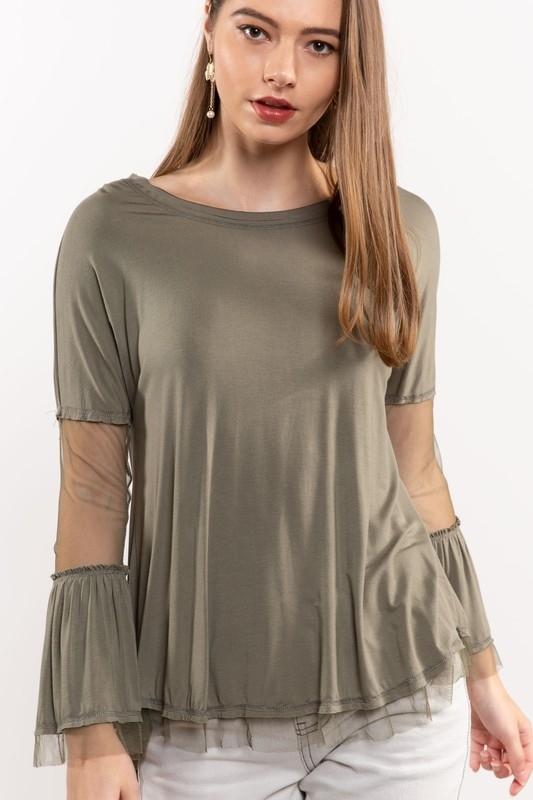 Olive Me Loves Olive You Bell Sleeve Top