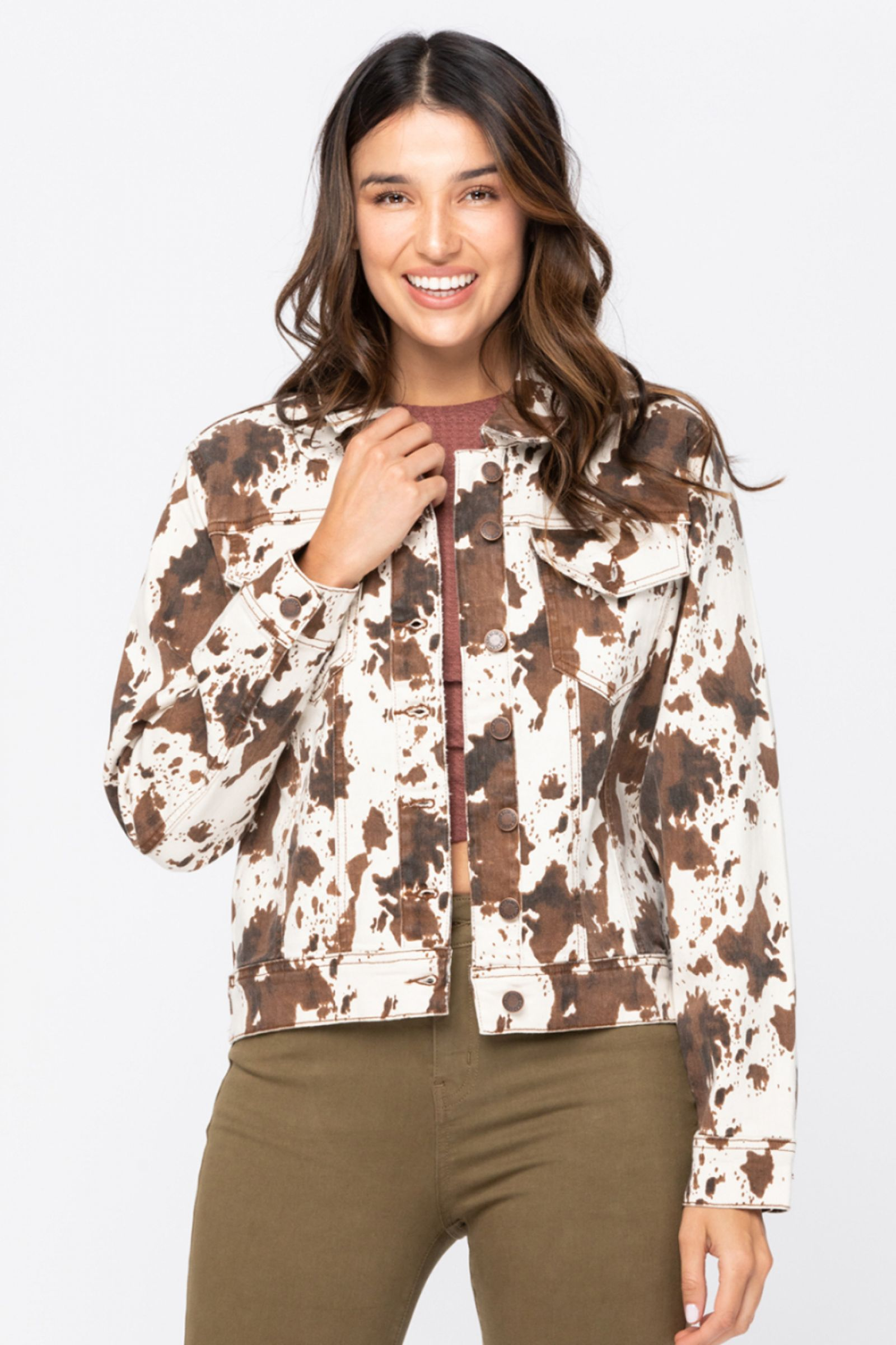 Cow Print Denim Jacket by Judy Blue