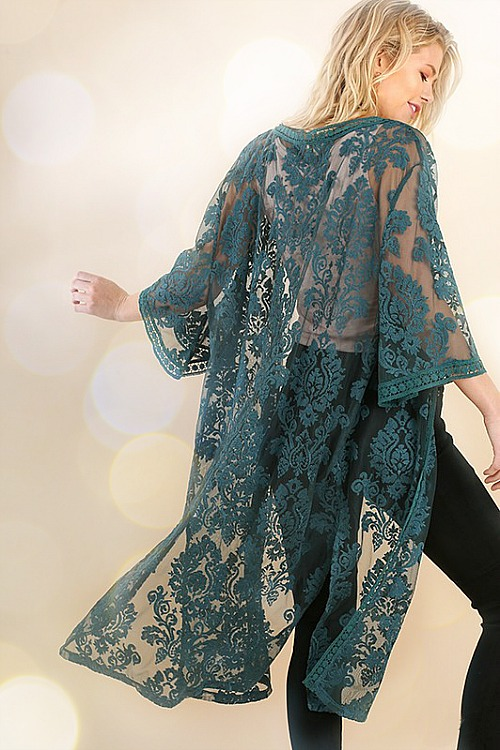 Floral Embroidered Lace Duster - Teal