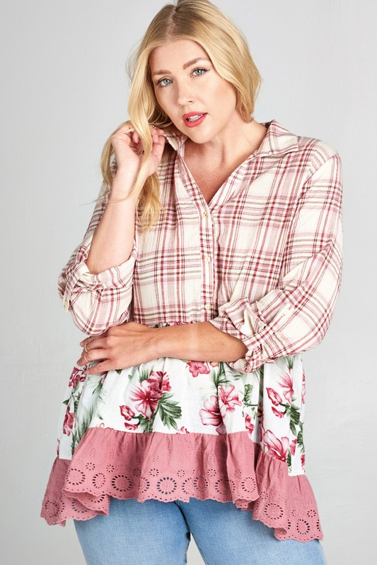 Plus Size Country Girl Life Plaid Shirt - Mauve