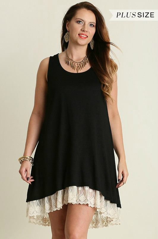 Plus Size Sleeveless Dress With Lace Detail - Black