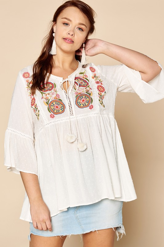Plus Size Cute and Casual Babydoll Blouse