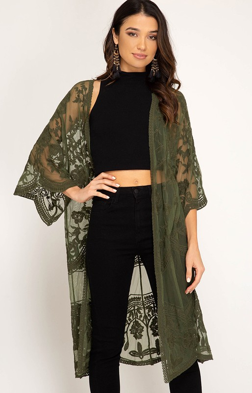 Olive Lace Duster