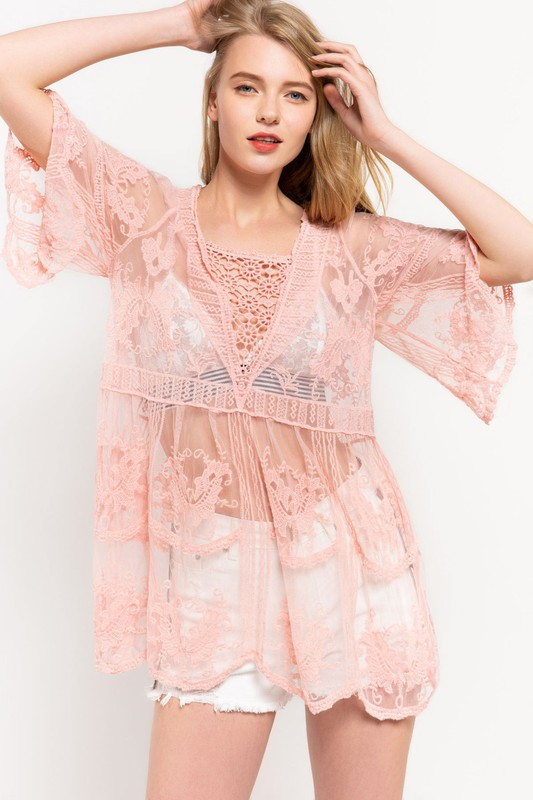 Frilly Flair Rose Pink Lace Top
