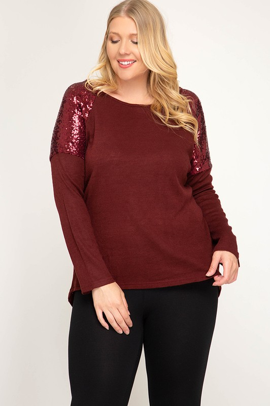 Plus Size Glam Ma'am Sequin Top - Wine