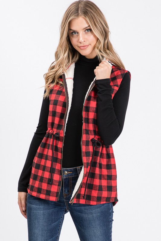 Buffalo Check Sherpa Lined Vest - Red