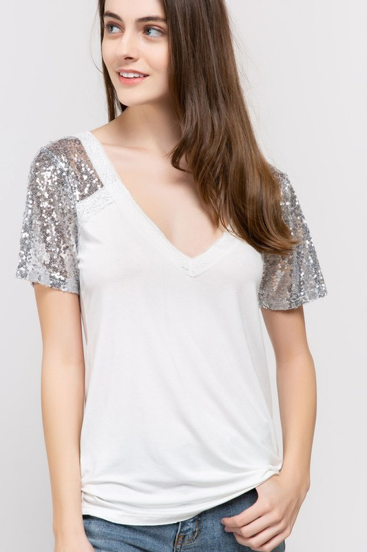 Sequin Raglan Top by POL Clothing