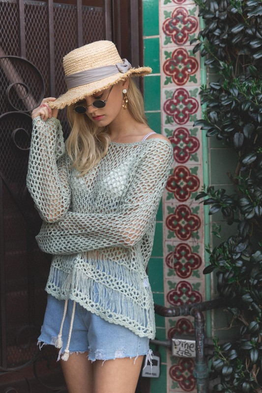 Open Weave Summer Sweater by POL - Green Lily