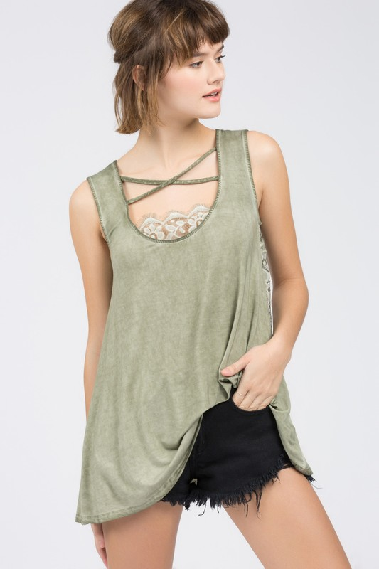 It's Adorable Criss Cross Top With Lace