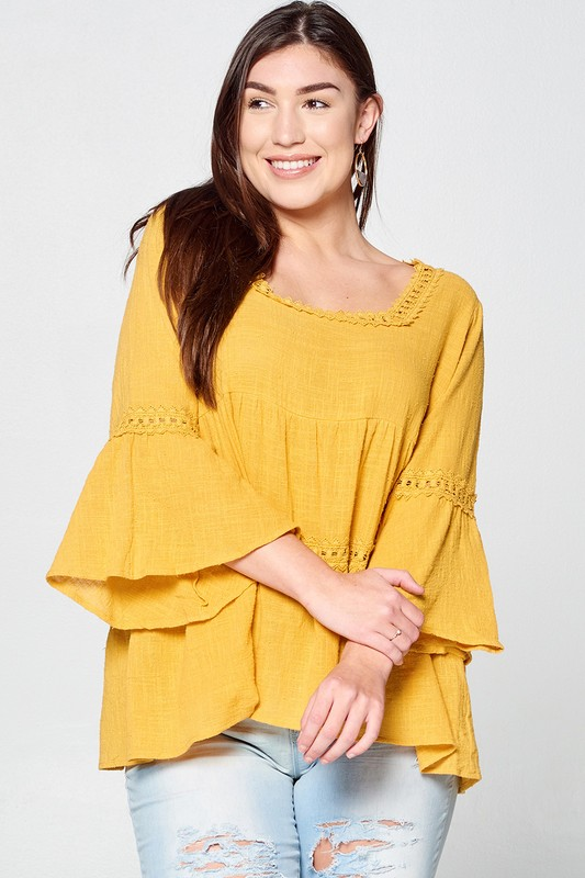 Plus Size Canary Babydoll Blouse