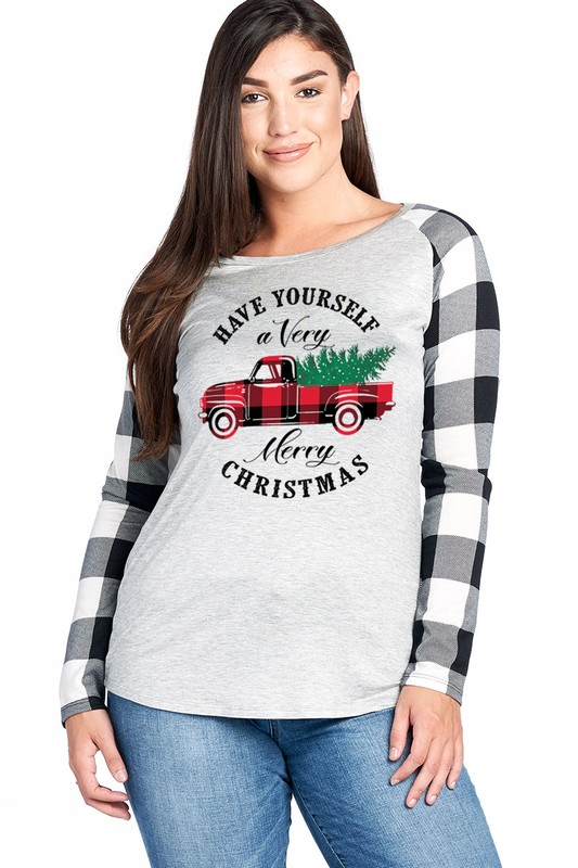 Plus Size Have Yourself A Very Merry Christmas Top - Grey