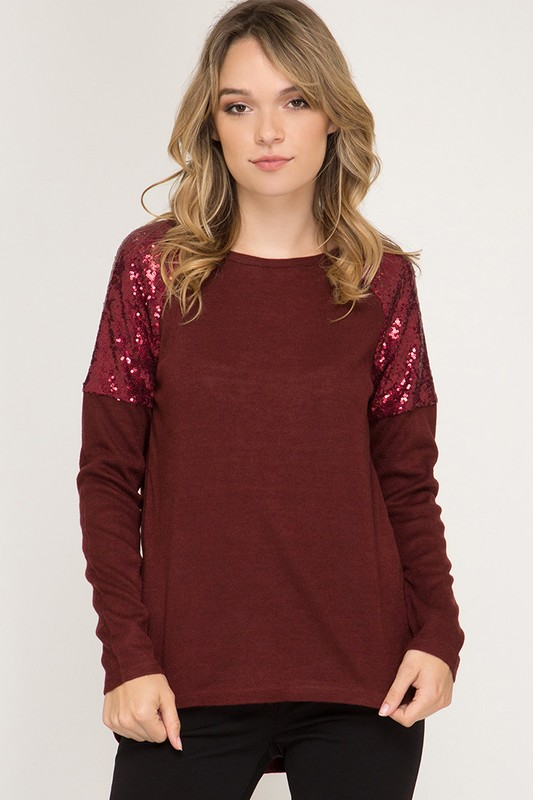 Glam Ma'am Sequin Top - Wine