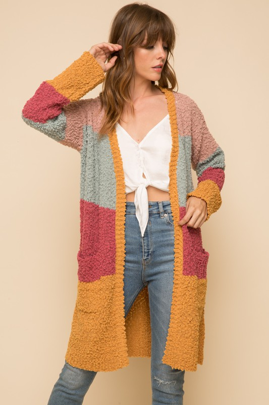 Cool and Collected Color Block Cardigan