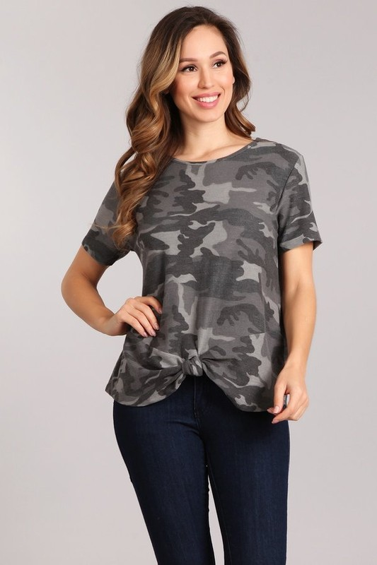 Front Knot Camoflage Tee
