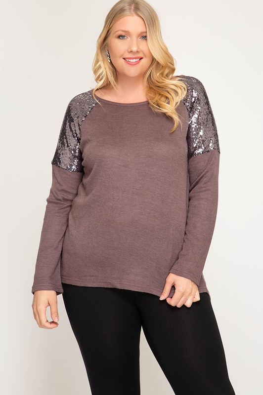 Plus Size Glam Ma'am Sequin Top - Cocoa
