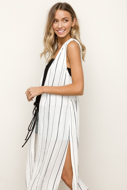 Hem & Thread Long Striped Vest