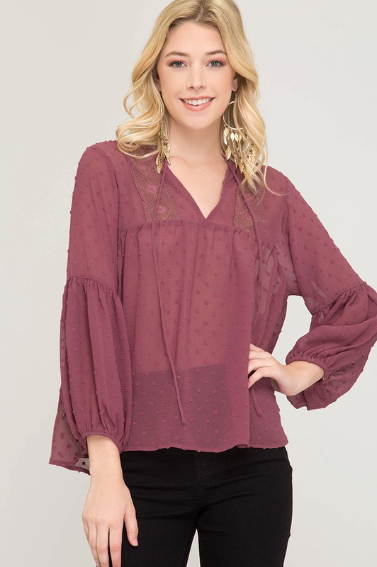 Waiting All Day Dot Top - Mauve
