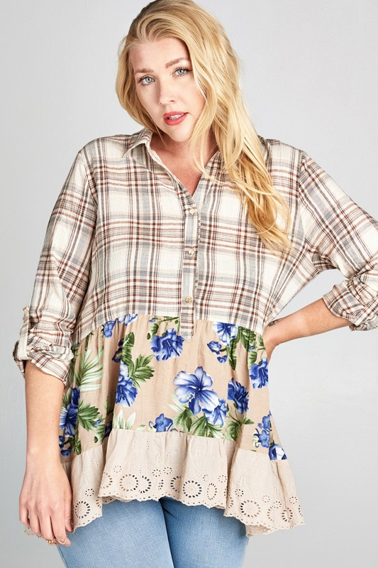 Plus Size Country Girl Life Plaid Shirt - Taupe