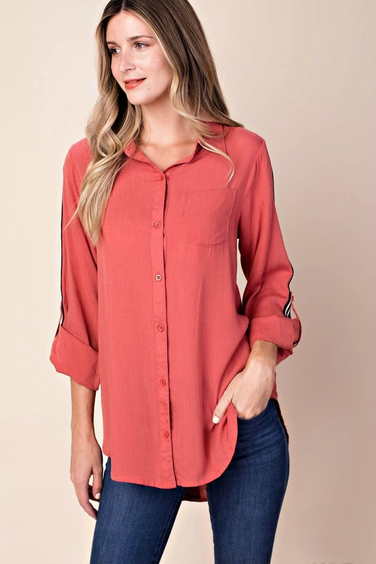 Sporty and Spicy Button Down Top