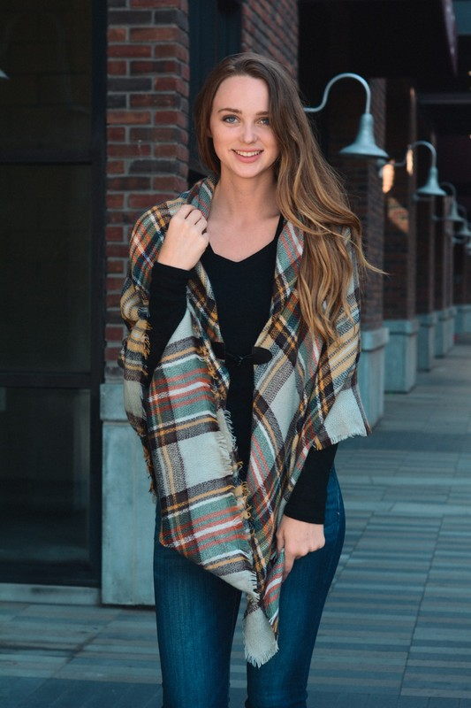 Classic Flannel Poncho With Toggle - Mustard/Grey