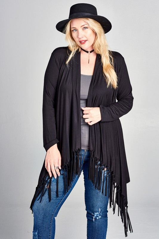 Plus Size Fringe Cardigan - Black