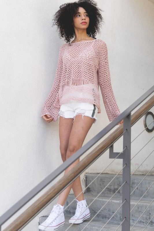 Open Weave Summer Sweater by POL - Rose Dawn
