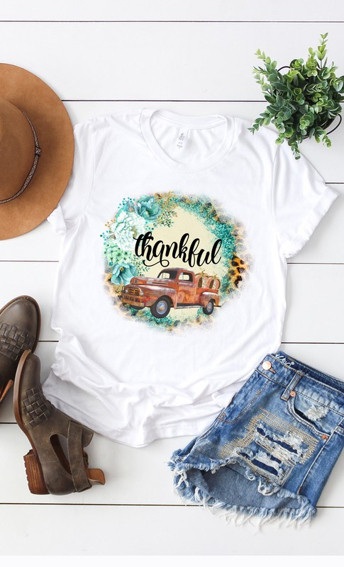 Fall Thankful Vintage Truck and Pumpkins T- Shirt- White