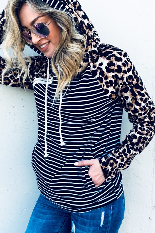 It's A Love Affair Leopard and Stripes Double Hoodie