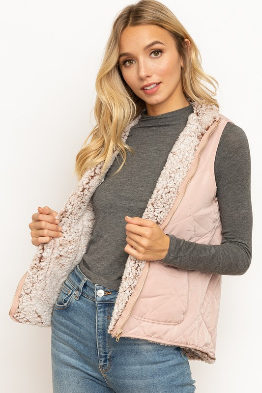 Always Pretty In Pink Mock Neck Vest
