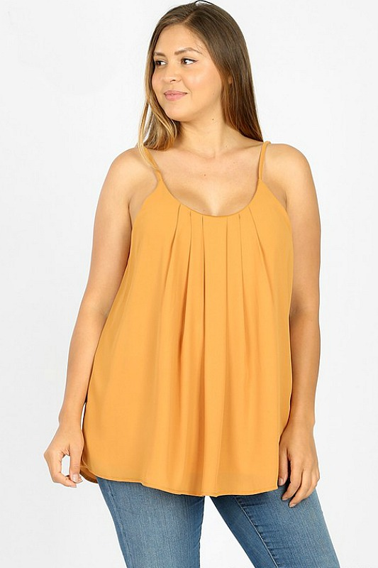 Pleated Cami Top - Ash Mustard