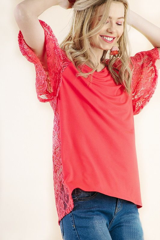 Umgee Bell Short Sleeve Lace Top - Coral