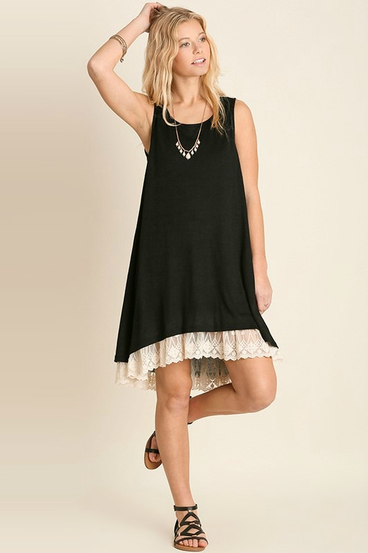 Sleeveless Dress With Lace Detail - Black