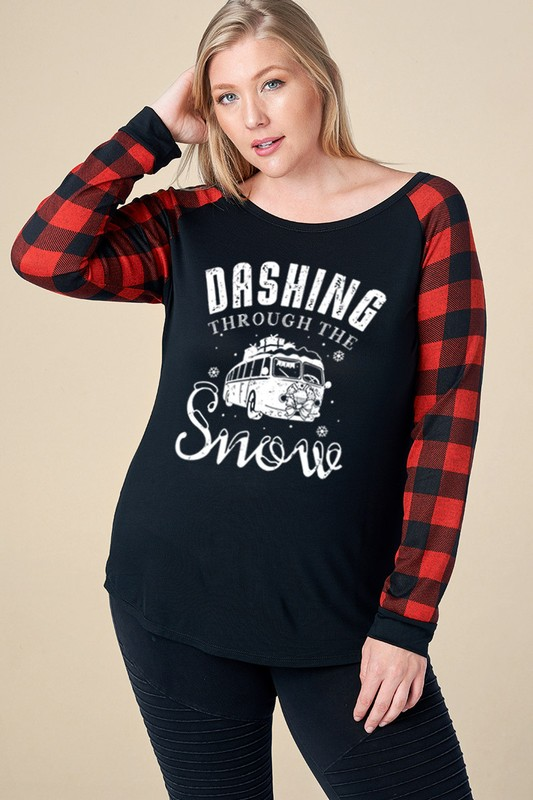 Plus Size Dashing Through The Snow Holiday Top