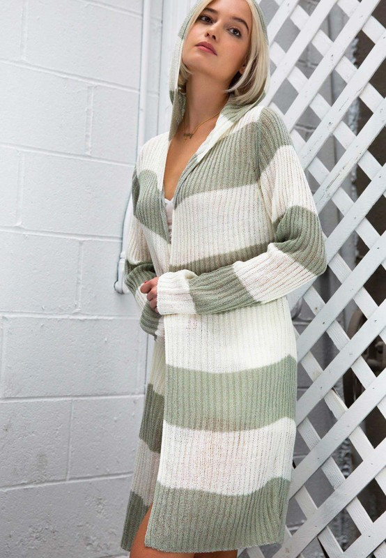 Green Lily Striped Cardigan by POL