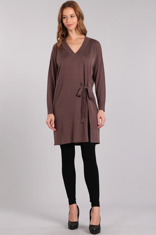 M. Rena High Slit Tunic - Hazy Mauve