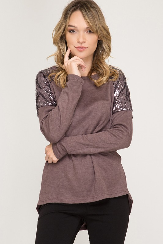 Glam Ma'am Sequin Top - Cocoa